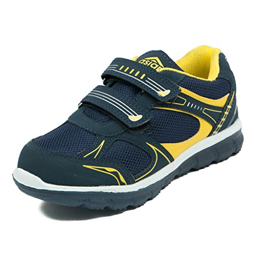 Asian shoes JUNIOR-13 Navy Blue Yellow Mesh Kids Shoes 5UK/Indian