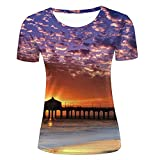 GUOJOOE Unisex Casual 3D Print Sunset at Beach T Shirts for Women XS