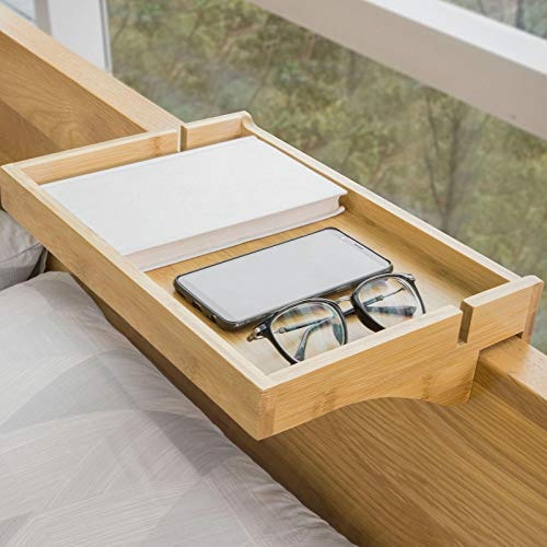 SoBuy NKD01-N Bettablage mit Kabelführung Nachttisch Regal für Mobiltelefon, Fernbedienung aus Bambus klemmbar BHT ca.: 36x9x25cm