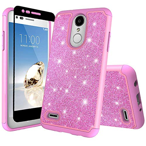 Coolpad Illumina Schutzhülle/Coolpad Legacy Go Case mit gehärtetem Glas Displayschutzfolie Hybrid Dual Layer Defender Silikon Hard Case Stoßfest Schutzhülle für Illumina 3310/3310A -, hot pink Hot Pink Hard Case