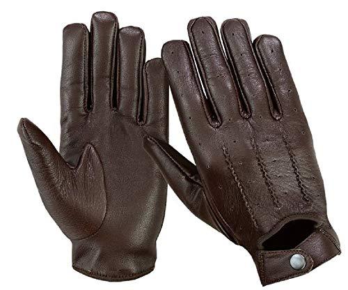 Guanti da guida da uomo, in vera pelle morbida, alla moda, per motocicletta, guanti stile vintage LN101, Marrone (Brown), L