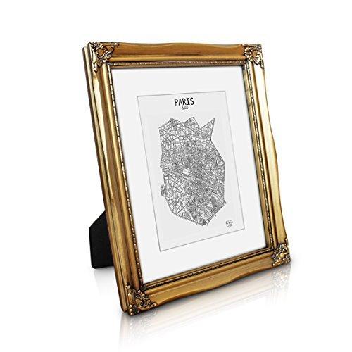 Antik Bilderrahmen 20x25 cm - Shabby Chic mit Passepartout für 13x18 Fotos - Glasfront - 2,5 cm Rahmenbreite - Rokoko Barock Stil - Antik Gold (Ornament Gold-glas)