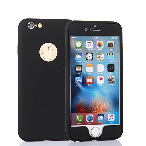 Techvibe iphone 6s plus caso, protezione integrale, opaca sottile in tpu, doppio strato, design migliorato con aggiunta di pellicola protettiva trasparente per iphone 6s plus/6plus (14cm) nero nero