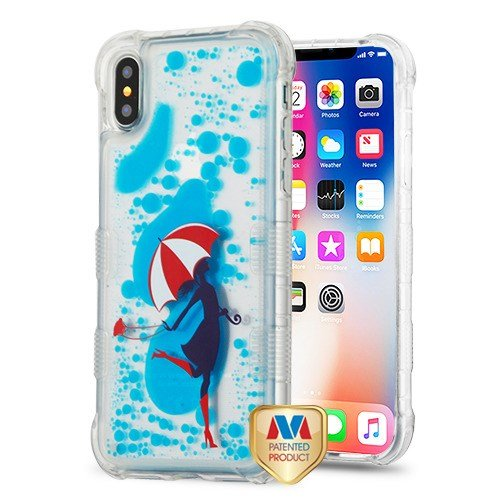 MYBAT Passt Tuff Hybrid Displayschutzfolie Cover Fall Apple iPhone X/10 Romance in The Rain/Dance mit Weiß Rot Regenschirm/Springseil in Blau Öl aqualava Alltel-snap