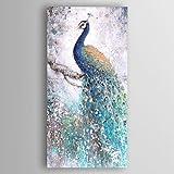 HY&GG Pfau Hand-Painted Abstrakte Ölmalerei Mit Stretcher Für Dekoration Fertig Zum Aufhängen Größe 45 * 90 Cm {Nur Leinwand}