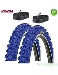 01022614KB 2 x Kenda MTB Pneus vélo Plafond + 2 Tuyaux - 26 x 1.95 - 50-559 (bleu)