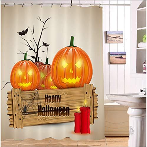 Fandhyy Duschvorhang Bad Wasserdichtes Gewebe Polyester 12 Haken Bad Zubehör Sets Kürbis Lampen Auf Happy Halloween Holz Zeichen
