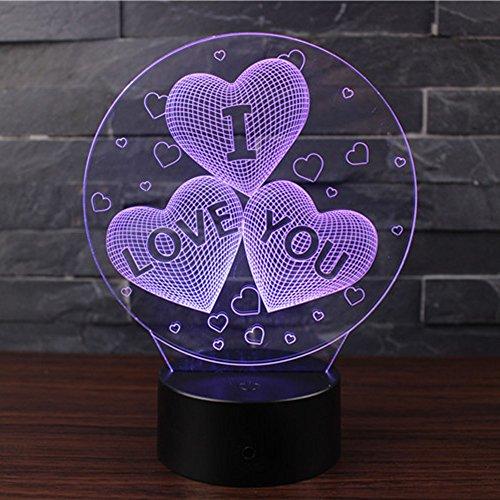 3D Optische Illusions-Lampen NHsunray LED 7 Farben Touch-Schalter Ändern Nachtlicht Für Schlafzimmer Home Decoration Hochzeit Geburtstag Weihnachten Valentine Geschenk Romantische Atmosphäre (ICH LIEBE DICH) (Ich Touch Farbe)