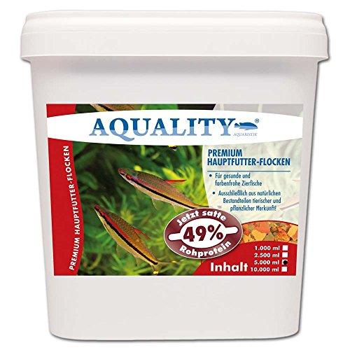 AQUALITY PREMIUM Hauptfutter-Flocken 5.000 ml (Top Premium Fischfutter Flocken mit satten 49% Rohprotein - das wertvolle Nature Hauptfutter. Aussschließlich aus natürlichen Bestandteilen tierischer