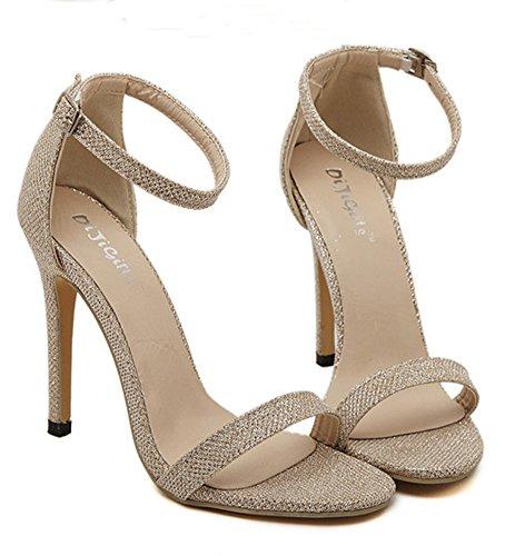Aisun Damen Klassisch Peep Toe Knöchelriemen Glanz High Heels Stiletto Pumps Sandalen Gold