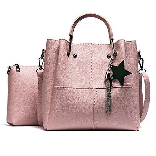 Meoaeo Europei E Americani Borse Di Moda In Pelle Nuova All-Match Borsa Per Portatile Nero Pink