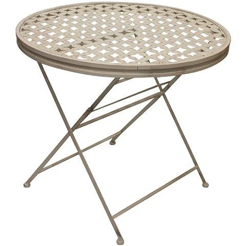 Woodside - Table de jardin - ronde/pliante - pour les patios/l'extérieur - métal