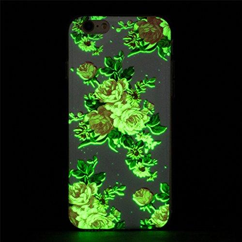 iPhone 6 Hülle, iPhone 6S Hülle, Gift_Source [ Hirsch ] Hülle Case Transparent Weiche Silikon Schutzhülle Handyhülle Schutzhülle Durchsichtig TPU Crystal Clear Case Backcover Bumper Case für iPhone 6s E1-Pfingstroseblume