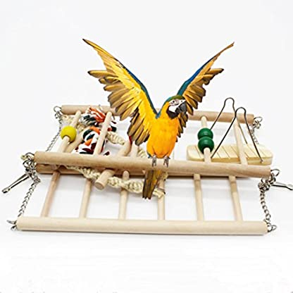 Gaddrt Animal Activity Toy Parrot Climbing Net Parrot Ladder Swing Budgie Hanging Toy Suspension Bridge Hammock Swing Ladder 5