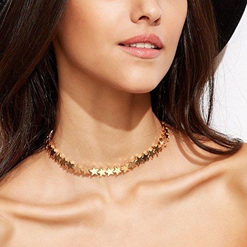 Girocollo Yean per donne e ragazze, collana girocollo con catena di stelle in rame