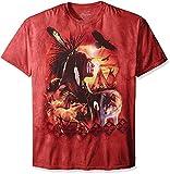Indian Collage Indianer, Wolf und Pferd Erwachsenen T-Shirt in Größe S