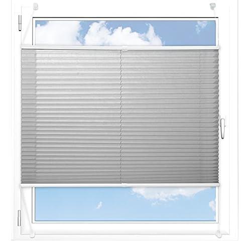Plissee Rollo / Jalousie | Sichtschutz ohne Bohren, Klemmfix | Faltstore in moderner Crushed Optik | Hellgrau | Größe wählbar (100 cm Länge x 90 cm