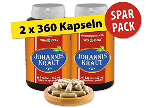 VITA IDEAL  Johanniskraut (Hypericum perforatum) 2x360 Kapseln je 450mg, aus rein natürlichen...