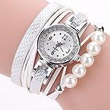Upxiang Damen Uhr, Mode weibliche Strass Uhr mit Perlenarmband, charmante Perlenarmbanduhr, Leder analoge Quarz Strass Uhr (Weiß)