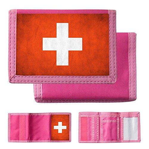 drapeaux-suisse-1-carte-du-monde-pink-unisex-nylon-ripper-portefeuille-wallet-avec-fentes-pour-carte