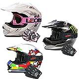 Leopard LEO-X18 *ECE 2205 Genehmigt* Kinderquad Kinder MX Motorradhelm Crosshelm Motocrosshelme Off Road Enduro Sport + Handschuhe + Brille | Monster L (53-54cm)