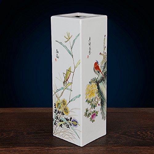 All Décor Chinesische Porzellanvase mit Blumenmuster, handgefertigt, Handbemalt, 38,1 x 14 cm -