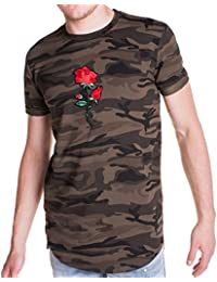 Project X - T-shirt homme camouflage et brodé rose