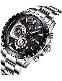 Relojes para Hombres,LIGE Hombres Acero Inoxidable Resistente al Agua Deportes Reloj De Cuarzo Analógico Cronógrafo Fecha Negocios…