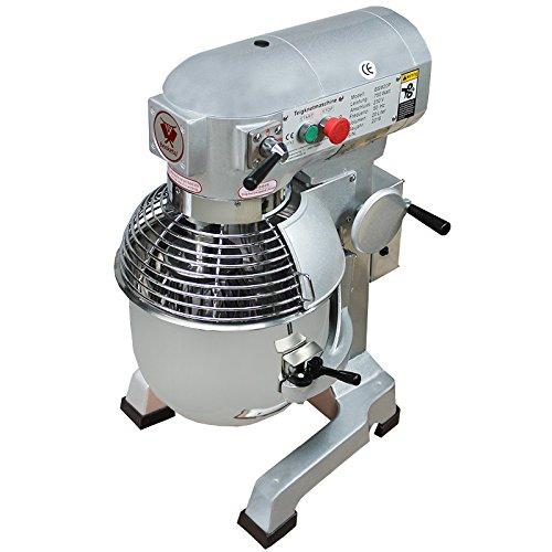 Beeketal \'BSM20P\' Profi Teigknetmaschine mit Planetenrührwerk 20 Liter Kapazität (3 Stufen 105, 180, 425 U/min), Knetmaschine inkl. Knethaken, Schneebesen und Flachrührer - silber lackiert