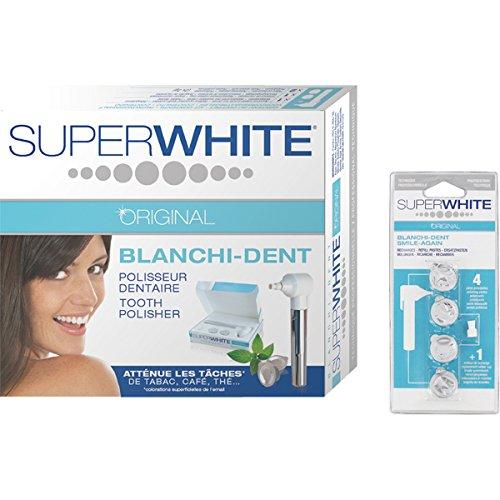 ZAHNPOLITUR SET SUPERWHITE ORIGINAL Blanchi-Dent Zahnpolierer Kit + Blanchi Dent REFILL Nachfüllpack Polierpasten mit Ersatz-Gummikelch Polieraufsatz