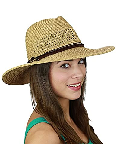 C.C Women's String & Faux Suede Band Wide Brim Weaved Panama Summer Sun Hat, Natural