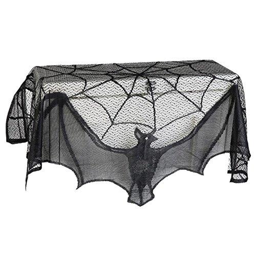 Yalulu 93 * 57cm/ 36 * 22 Zoll Halloween Spitze Tuch Material Fledermäuse Spinnennetz Window Tisch Türen Kamin Deko Prop Schal Abdeckung Party Supplies