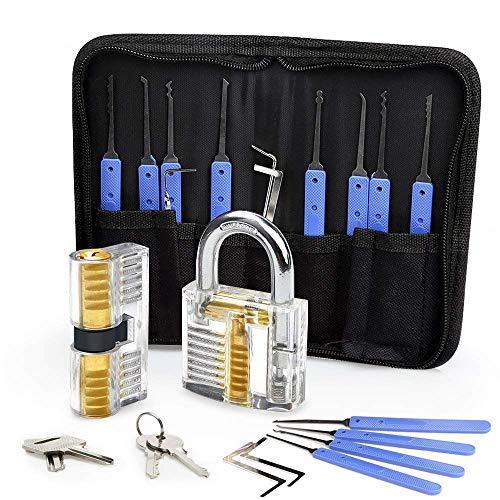 DDPP 12 Picks & 5 Torque Wrenches Lock Set Transparent Locksmith Practice Padlocks, Beginner es Guide and Locksmith Training (Blue) (Lock Set-taste Pick)