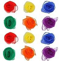 Jongliertücher (12 Stück) von LVEDU - Spielzeug für die Sensorik, 6Farben, 60x 60cm. Bauchtanztücher, Schals für Babys, Kleinkinder, Kinder