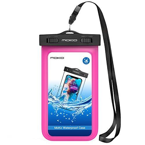 MoKo Custodia Impermeabile per iPhone X XS XR XS Max, 8 7 6S Plus, Samsung S10 S9 S8 Plus, S10 e,Huawei P30 P20 P10, P9, e Tanti Altri Cellulari- IPX8 Certificato, Magenta