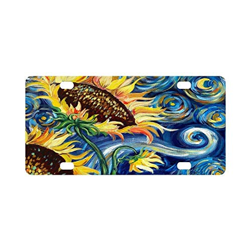 BNHF 12 X 6 inches Durable License Plate Frame Metal Personalized Car Tag, Fashionable Sunflower by Vincent Van Gogh Oil Paintings (4