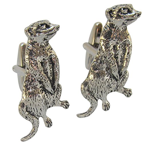Image of Francis Windsor Original English Made Meerkat Pewter Cufflinks and Gift Box (Meerkat in Pewter)