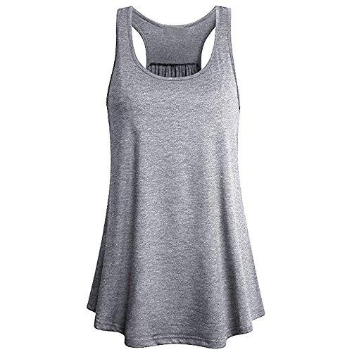 WWricotta Damen ärmellose Weste Sport Yoga Tank Top Solid Flowy Racerback Bluse Women Solid Color Sleeveless Vest Flowy Sleeveless