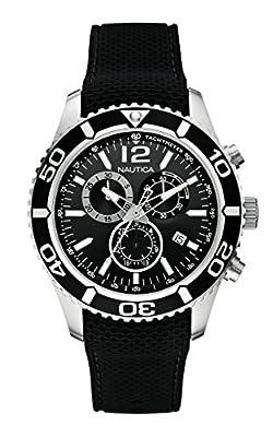 Nautica A15102G - Reloj de cuarzo para hombre, con correa de acero inoxidable, color negro de Nautica