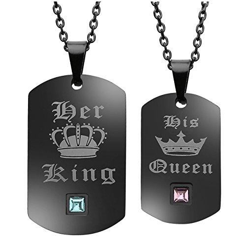 Personalized Master Edelstahl Paare Halskette Dog Tag Partneranhänger His Queen und Her King Schrift Gravur Anhänger Partnerketten für Damen Herren Geschenkset
