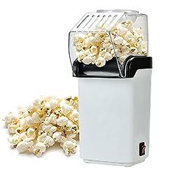 Lynlon Popcornmaschine, mit großer Öffnung, Messbecher und abnehmbarem Deckel, 1200W, Öl ist nicht notwendig, Popcorn Maker Heißluft CE/RoHS/LFGB zugelassen, weiß