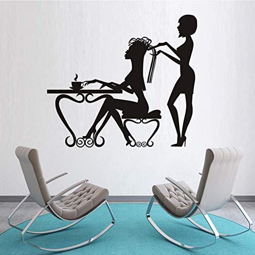 Styling-schere (Haar styling schere schönheitssalon dekoration vinyl aufkleber wand schlafzimmer friseur wandkunst aufkleber mode abnehmbare tapete)