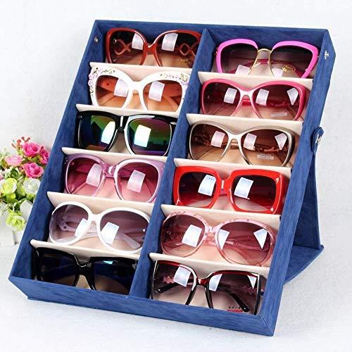 BULING Brillenvitrine 12 Grids Eyewear Sonnenbrille Box Aufbewahrungskoffer Organizer Solid Top Schwarz (Color : Blue)