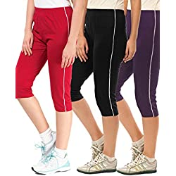 Espresso Women's Casual Relaxed Fit Cotton 3/4th Capri Pants - Pack of 3 - Red/Black/Grape