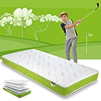 JAY-BE Simply Kids Anti-Allergy Foam Free Sprung Mattress, Steel Spring Hypoallergenic Airflow Fibre, White/Green, Single