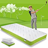 JAY-BE Simply Kids Anti-Allergy Foam Free Sprung Mattress, Steel Spring Hypoallergenic Airflow Fibre, White/Green, Single