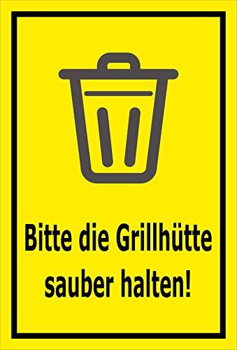 Schild - Bitte die Grillhütte sauber halten – 45x30cm | stabile 3mm starke Aluminiumverbundplatte – S00359-020-C +++ in 20 Varianten erhältlich