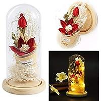 Uniqus NAI Yue Creativo imitación Flor de florero iluminación LED con Base de Madera pequeña luz