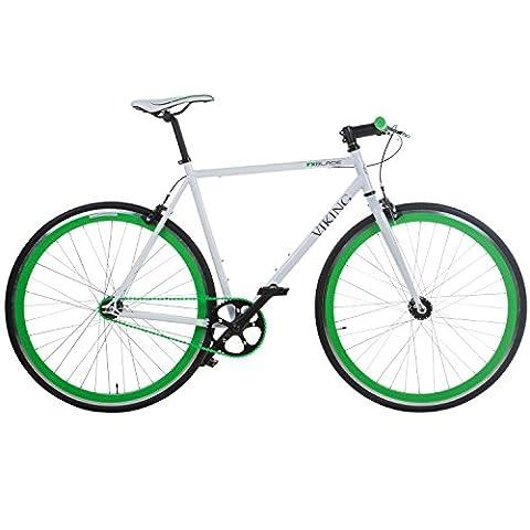 28' Fixie Singlespeed Bike Viking Blade 5 Farben zur Auswahl, Farbe: Weiss / Grün; Rahmengrösse: 53