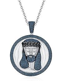 "Silvernshine Men's 1.40 Ct Round Aquamarine Jesus Face Pendant 18"" Chain In 14K White Gold Fn"